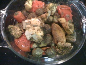 Cooked (8 min microwave/steamed) chicken added to tomatoes, peppers, brussel sprouts