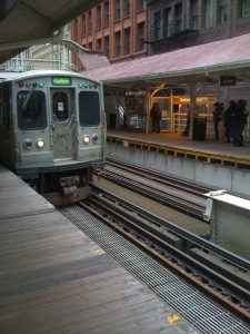 Green Line approaches Chicago EL