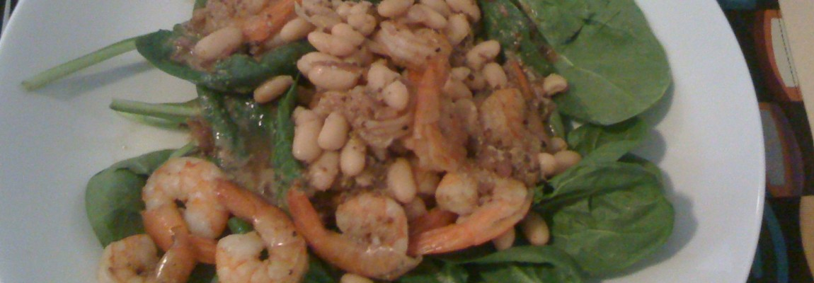 Warm Spinach Salad with Cannellini Beans and Shrimp